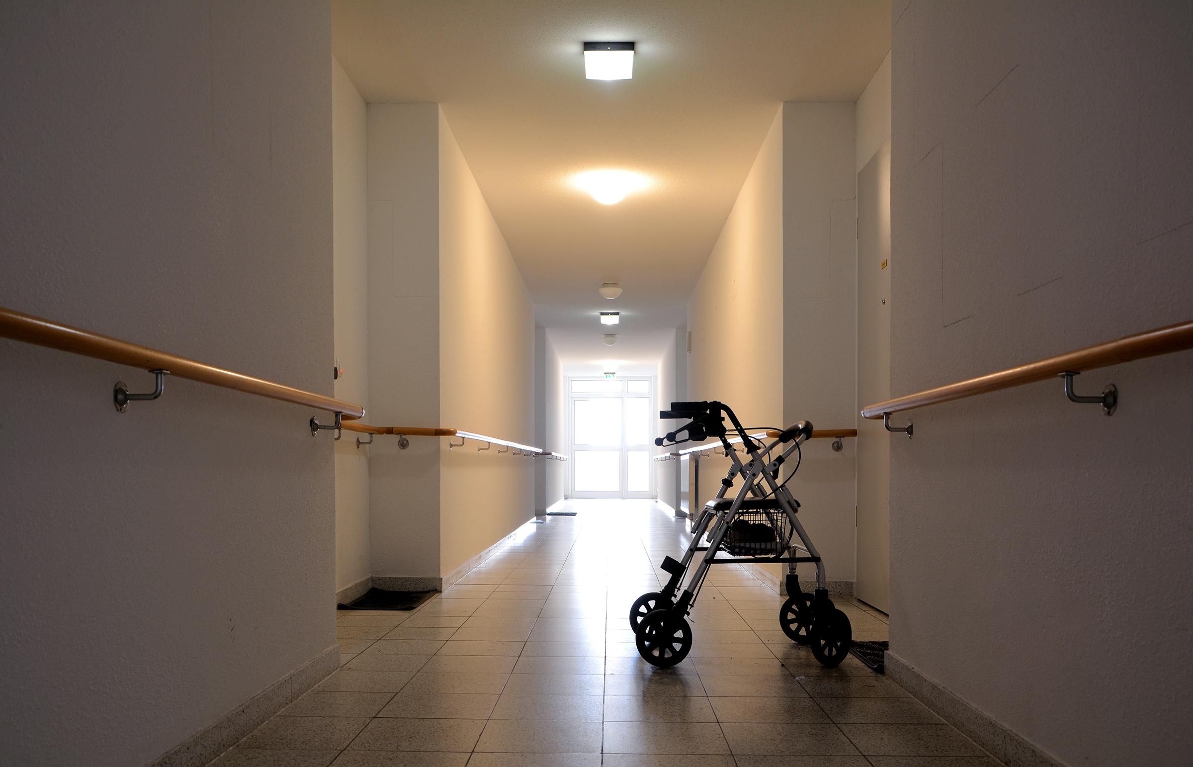 empty hallway with walker